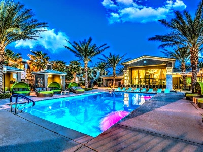 pool & cabanas at a Las Vegas luxury apartment building